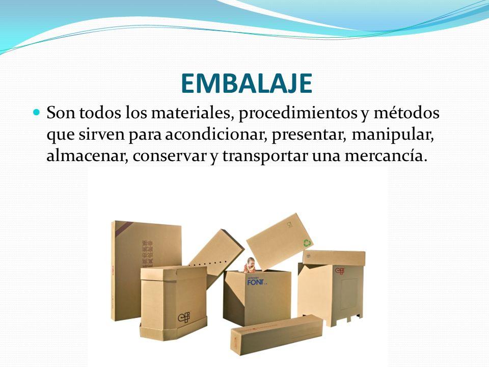 EMBALAJE Son todos los materiales, procedimientos y métodos que sirven para acondicionar, presentar, manipular, almacenar, conservar y transportar una