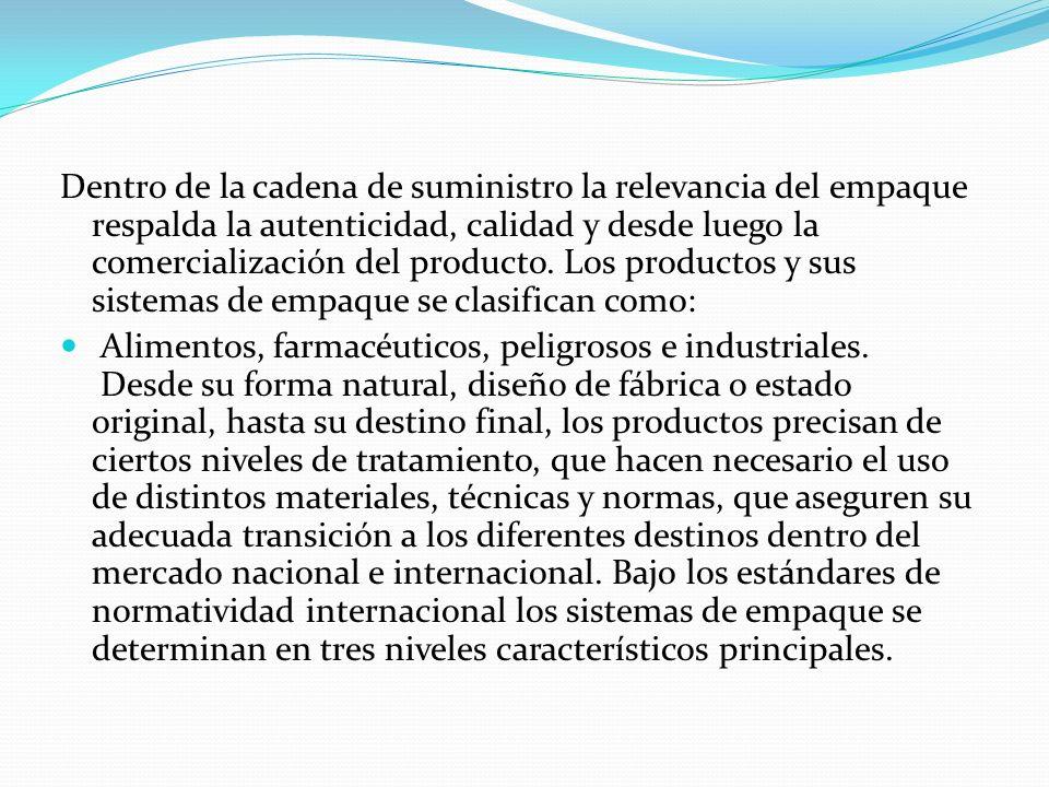 Dentro de la cadena de suministro la relevancia del empaque respalda la autenticidad, calidad y desde luego la comercialización del producto. Los prod