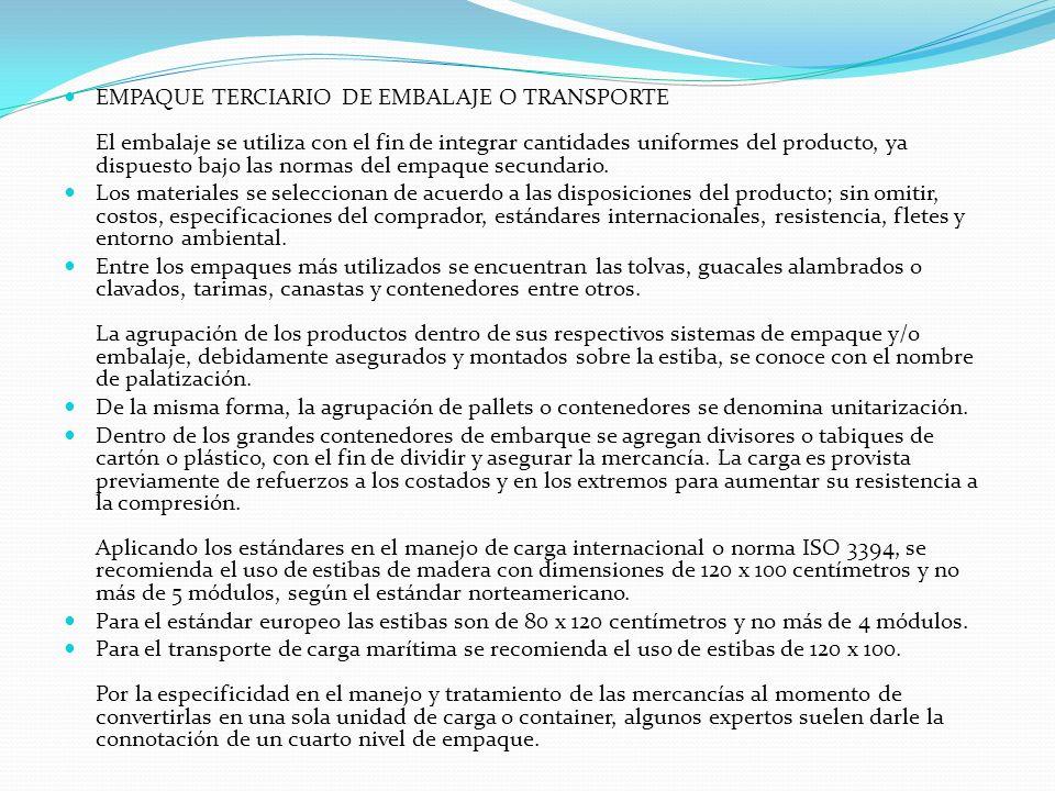 EMPAQUE TERCIARIO DE EMBALAJE O TRANSPORTE El embalaje se utiliza con el fin de integrar cantidades uniformes del producto, ya dispuesto bajo las norm