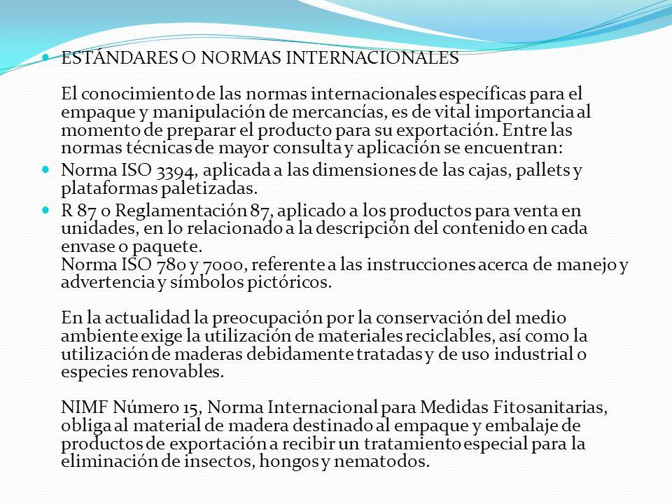 ESTÁNDARES O NORMAS INTERNACIONALES El conocimiento de las normas internacionales específicas para el empaque y manipulación de mercancías, es de vita