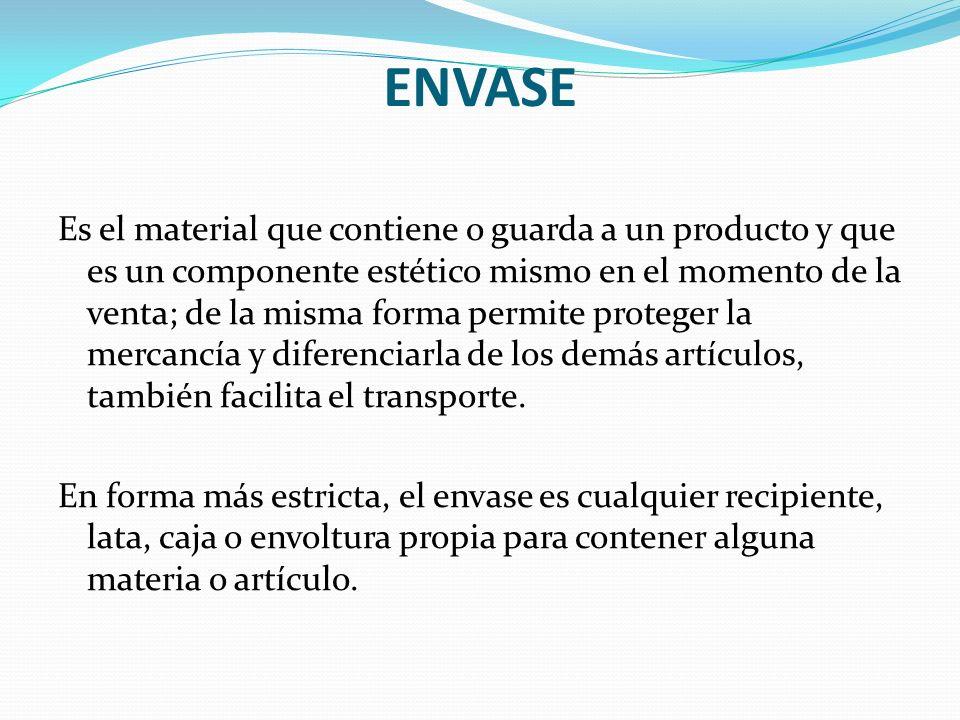 ENVASE Es el material que contiene o guarda a un producto y que es un componente estético mismo en el momento de la venta; de la misma forma permite p