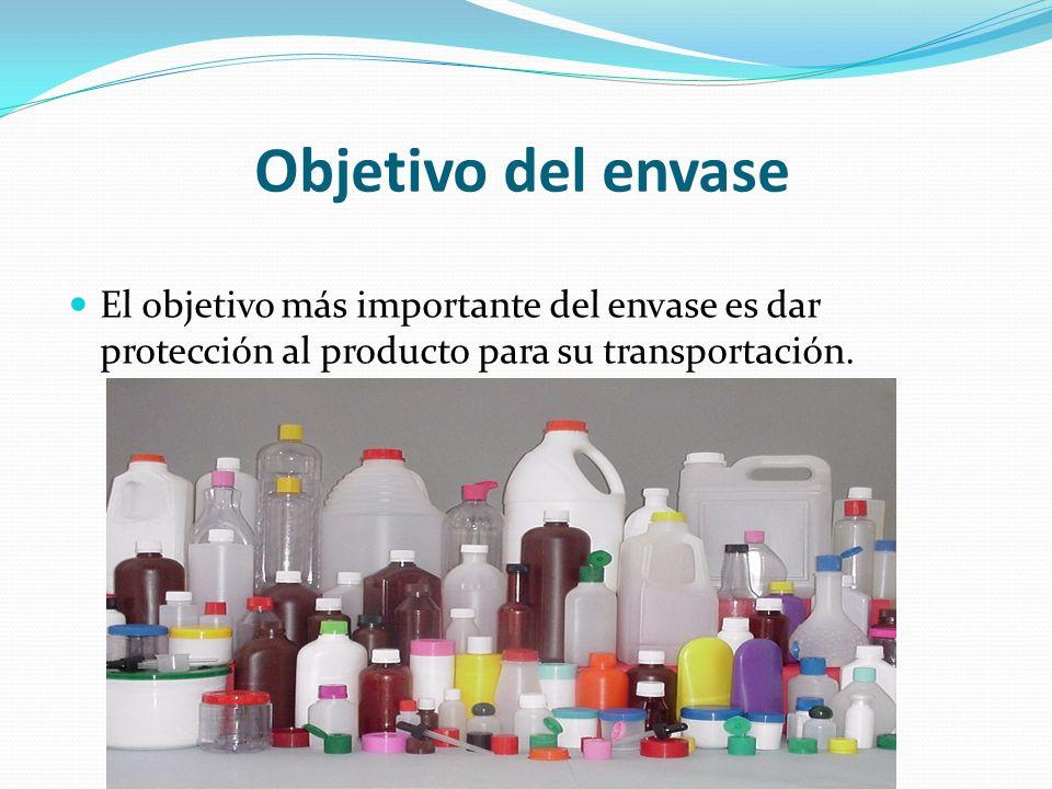 Objetivo del envase El objetivo más importante del envase es dar protección al producto para su transportación.