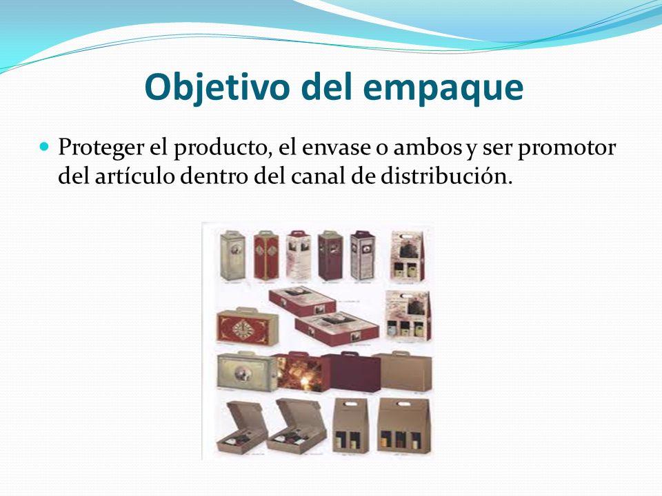 Objetivo del empaque Proteger el producto, el envase o ambos y ser promotor del artículo dentro del canal de distribución.