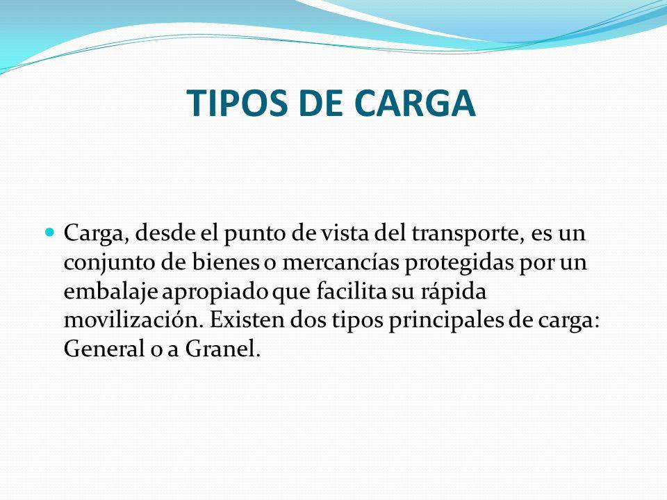 TIPOS DE CARGA Carga, desde el punto de vista del transporte, es un conjunto de bienes o mercancías protegidas por un embalaje apropiado que facilita