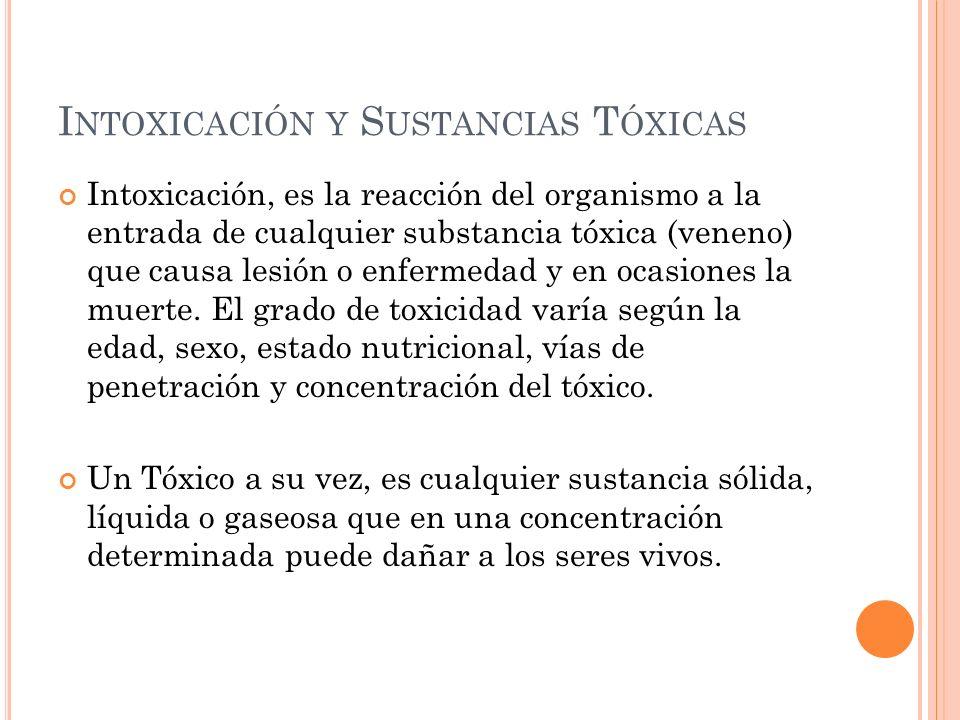 I NTOXICACIÓN Y S USTANCIAS T ÓXICAS Intoxicación, es la reacción del organismo a la entrada de cualquier substancia tóxica (veneno) que causa lesión
