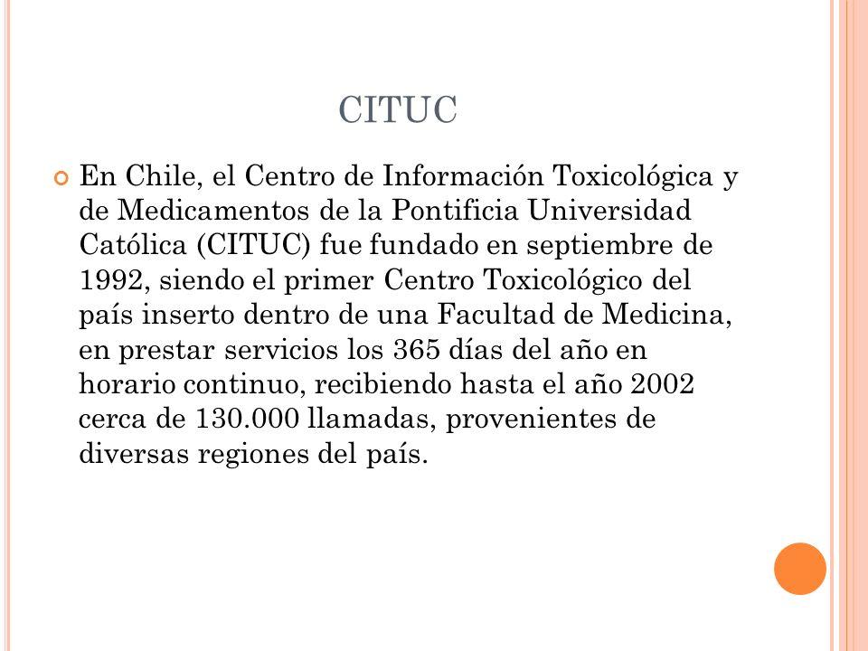 CITUC En Chile, el Centro de Información Toxicológica y de Medicamentos de la Pontificia Universidad Católica (CITUC) fue fundado en septiembre de 199
