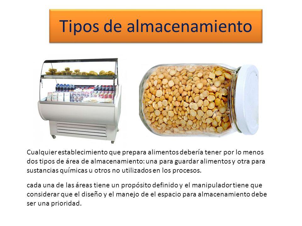 Tipos de almacenamiento Cualquier establecimiento que prepara alimentos debería tener por lo menos dos tipos de área de almacenamiento: una para guard