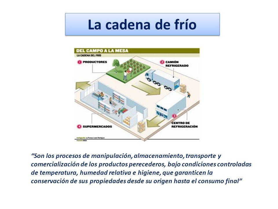 La cadena de frío Son los procesos de manipulación, almacenamiento, transporte y comercialización de los productos perecederos, bajo condiciones contr