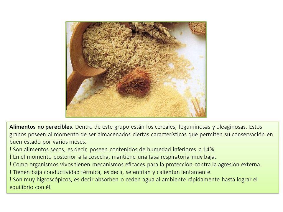 Alimentos no perecibles. Dentro de este grupo están los cereales, leguminosas y oleaginosas. Estos granos poseen al momento de ser almacenados ciertas