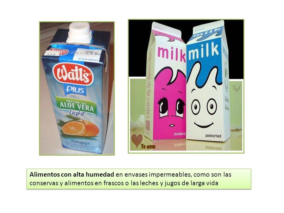 Alimentos con alta humedad en envases impermeables, como son las conservas y alimentos en frascos o las leches y jugos de larga vida
