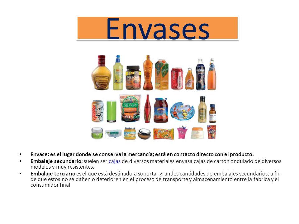 Envases Envase: es el lugar donde se conserva la mercancía; está en contacto directo con el producto. Embalaje secundario: suelen ser cajas de diverso