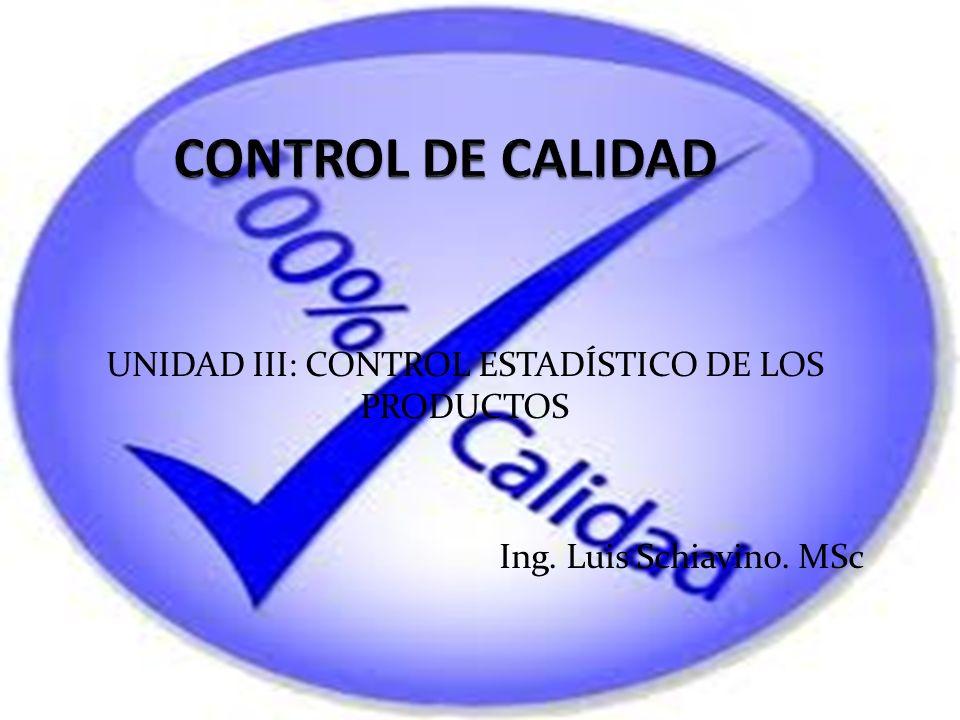 UNIDAD III: CONTROL ESTADÍSTICO DE LOS PRODUCTOS Ing. Luis Schiavino. MSc