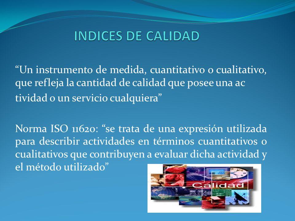 Un instrumento de medida, cuantitativo o cualitativo, que refleja la cantidad de calidad que posee una ac tividad o un servicio cualquiera Norma ISO 1