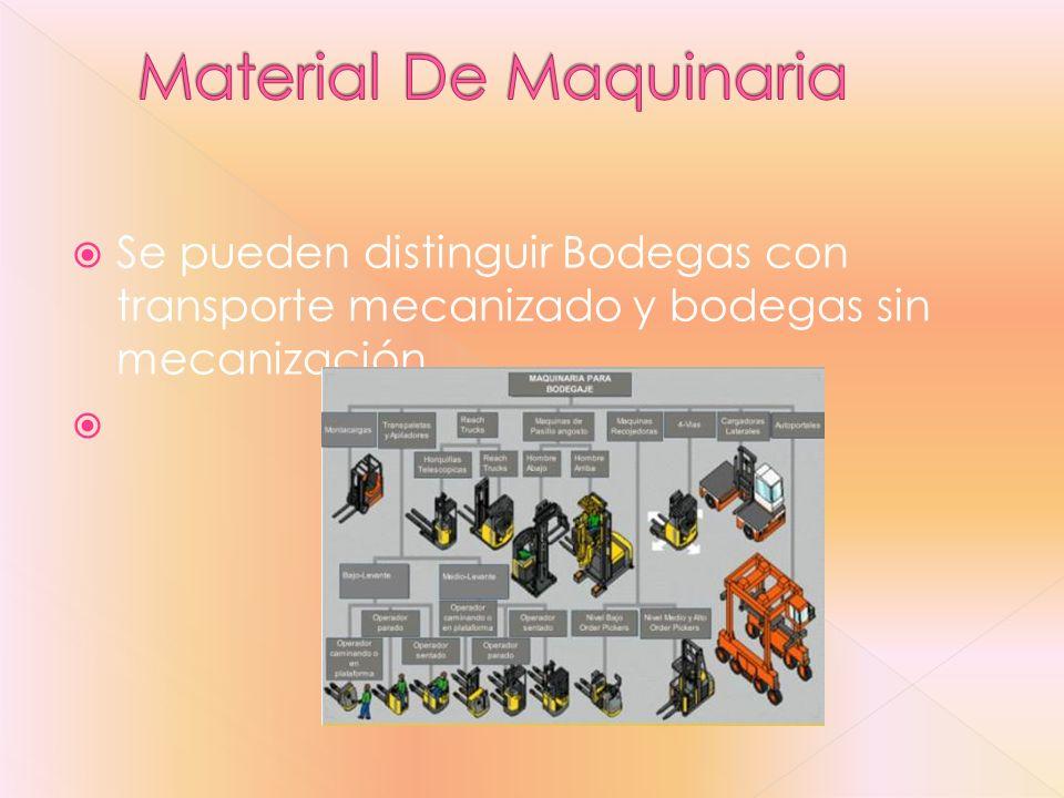 Se pueden distinguir Bodegas con transporte mecanizado y bodegas sin mecanización