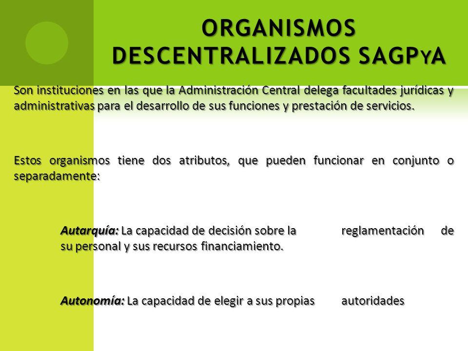 ORGANISMOS DESCENTRALIZADOS SAGP Y A Son instituciones en las que la Administración Central delega facultades jurídicas y administrativas para el desa