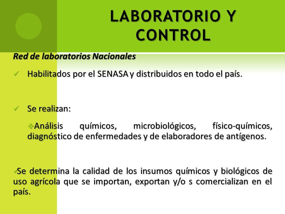 LABORATORIO Y CONTROL Red de laboratorios Nacionales Habilitados por el SENASA y distribuidos en todo el país. Habilitados por el SENASA y distribuido