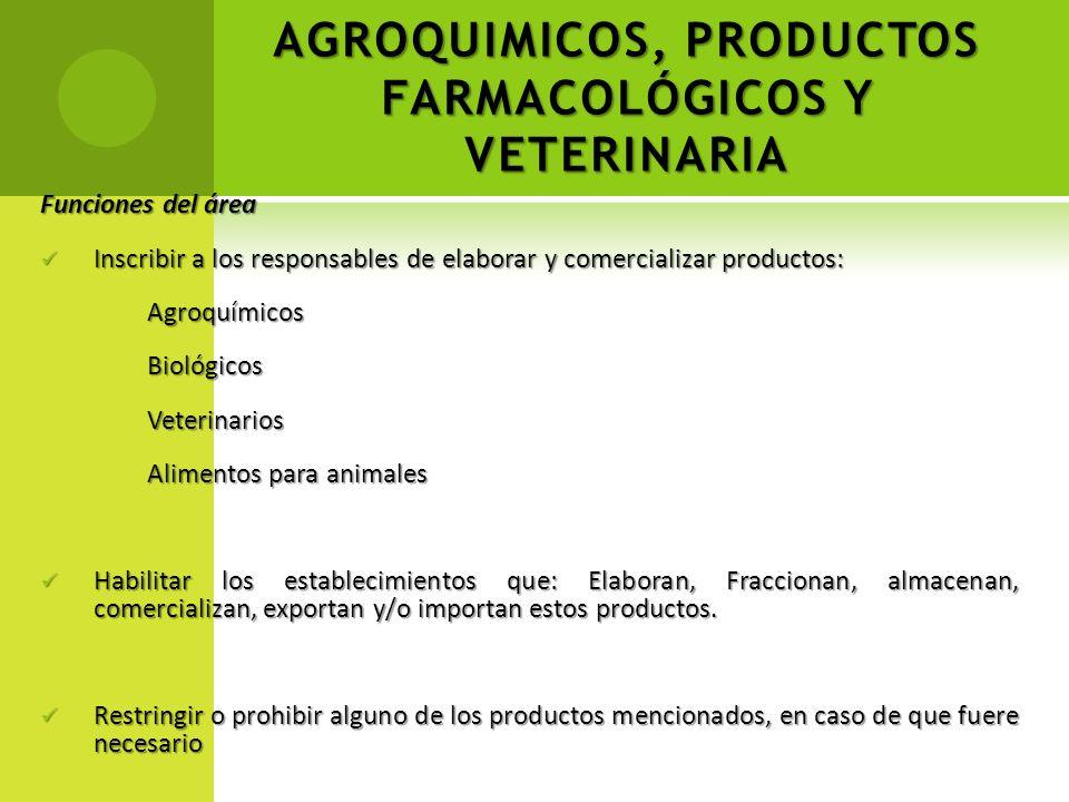 AGROQUIMICOS, PRODUCTOS FARMACOLÓGICOS Y VETERINARIA Funciones del área Inscribir a los responsables de elaborar y comercializar productos: Inscribir