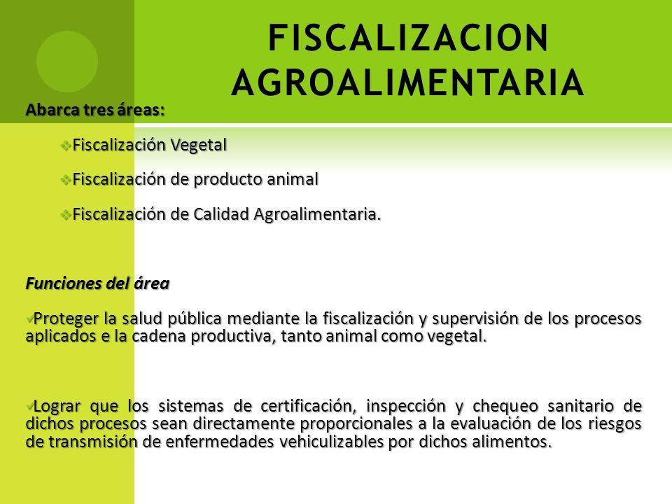 FISCALIZACION AGROALIMENTARIA Abarca tres áreas: Fiscalización Vegetal Fiscalización Vegetal Fiscalización de producto animal Fiscalización de product