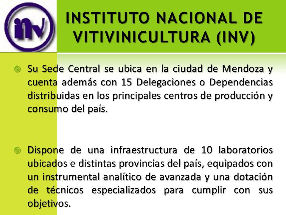 INSTITUTO NACIONAL DE VITIVINICULTURA (INV) Su Sede Central se ubica en la ciudad de Mendoza y cuenta además con 15 Delegaciones o Dependencias distri