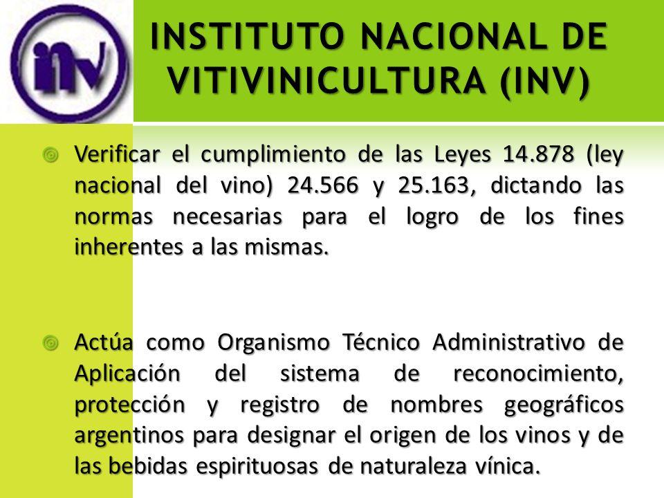 INSTITUTO NACIONAL DE VITIVINICULTURA (INV) Verificar el cumplimiento de las Leyes 14.878 (ley nacional del vino) 24.566 y 25.163, dictando las normas
