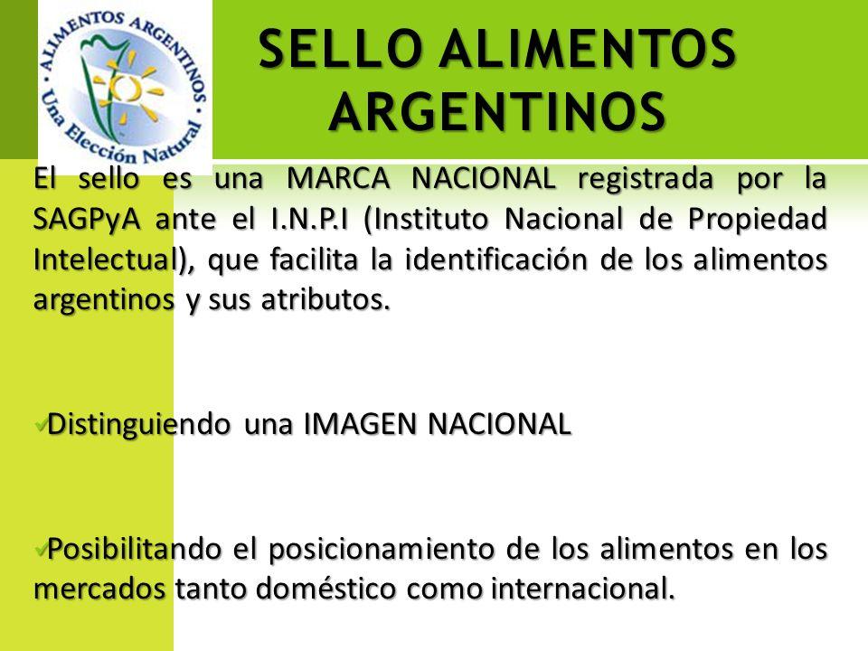 SELLO ALIMENTOS ARGENTINOS El sello es una MARCA NACIONAL registrada por la SAGPyA ante el I.N.P.I (Instituto Nacional de Propiedad Intelectual), que