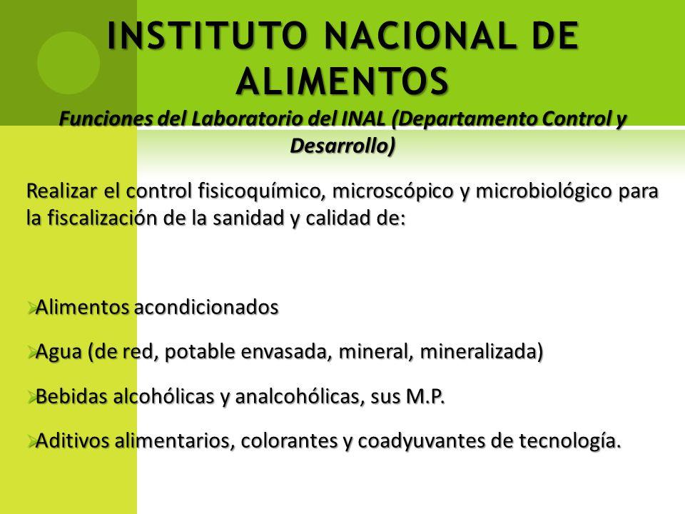 INSTITUTO NACIONAL DE ALIMENTOS Funciones del Laboratorio del INAL (Departamento Control y Desarrollo) Realizar el control fisicoquímico, microscópico