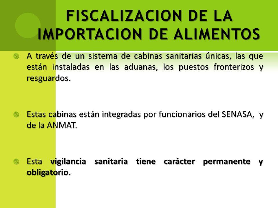FISCALIZACION DE LA IMPORTACION DE ALIMENTOS A través de un sistema de cabinas sanitarias únicas, las que están instaladas en las aduanas, los puestos