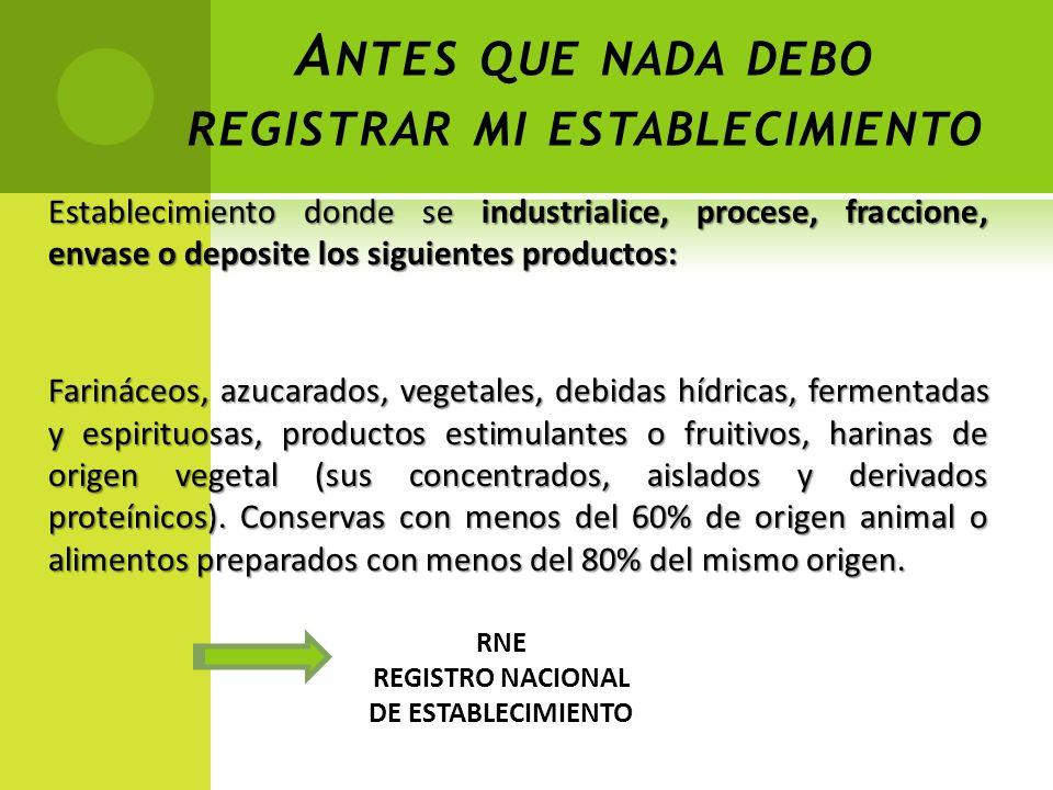 A NTES QUE NADA DEBO REGISTRAR MI ESTABLECIMIENTO Establecimiento donde se industrialice, procese, fraccione, envase o deposite los siguientes product