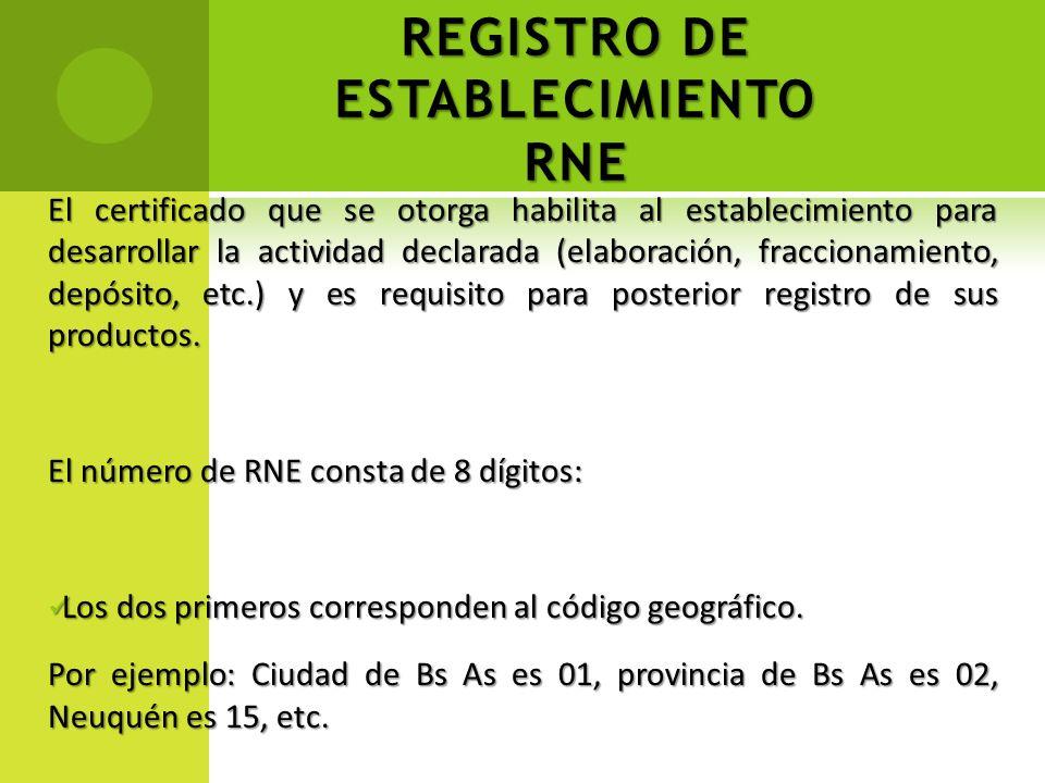 REGISTRO DE ESTABLECIMIENTO RNE El certificado que se otorga habilita al establecimiento para desarrollar la actividad declarada (elaboración, fraccio
