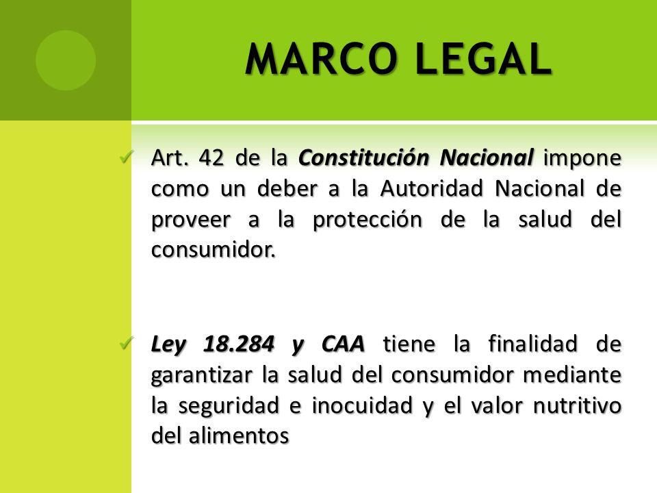 MARCO LEGAL Art. 42 de la Constitución Nacional impone como un deber a la Autoridad Nacional de proveer a la protección de la salud del consumidor. Ar