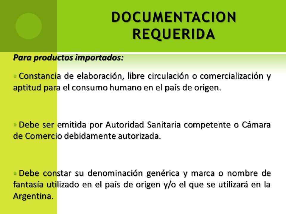 DOCUMENTACION REQUERIDA Para productos importados: Constancia de elaboración, libre circulación o comercialización y aptitud para el consumo humano en