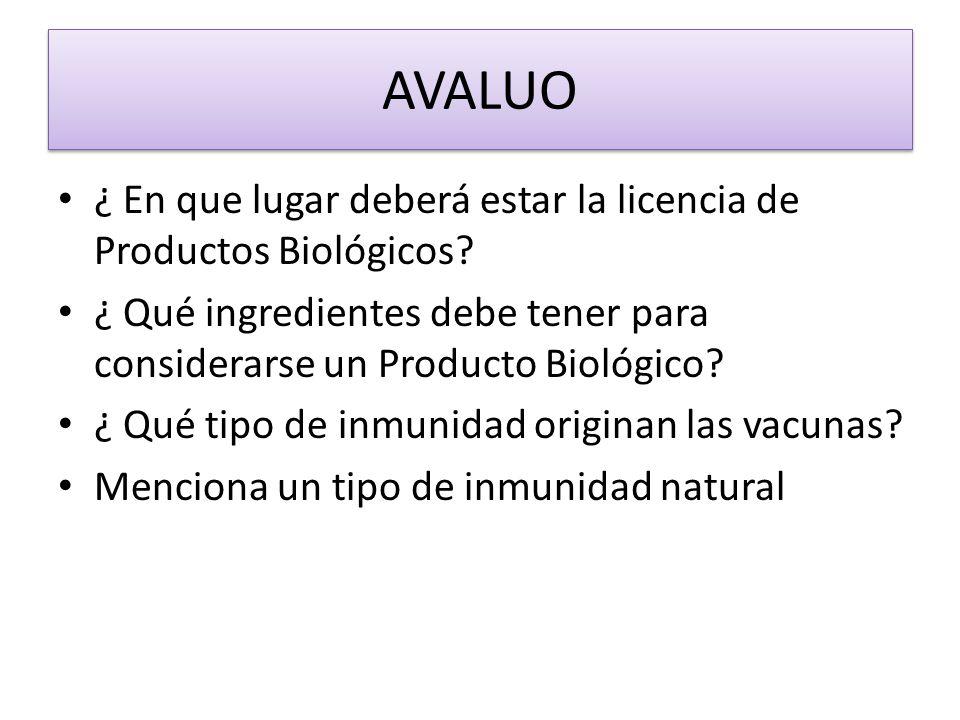 AVALUO ¿ En que lugar deberá estar la licencia de Productos Biológicos? ¿ Qué ingredientes debe tener para considerarse un Producto Biológico? ¿ Qué t