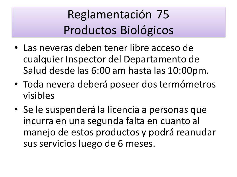 Reglamentación 75 Productos Biológicos Si incurre por tercera vez se le quitara la licencia de por vida La licencia para el despacho y manejo de productos biológicos deberá estar colocada encima de la nevera que se utilize para el almacenaje de los mismos.