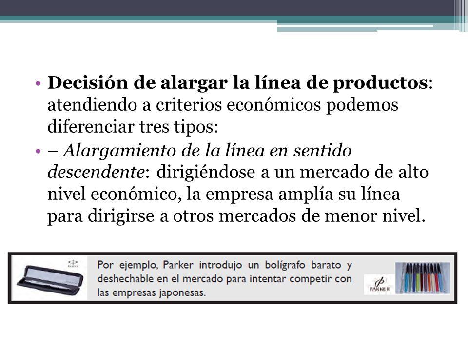 Decisión de alargar la línea de productos: atendiendo a criterios económicos podemos diferenciar tres tipos: – Alargamiento de la línea en sentido des