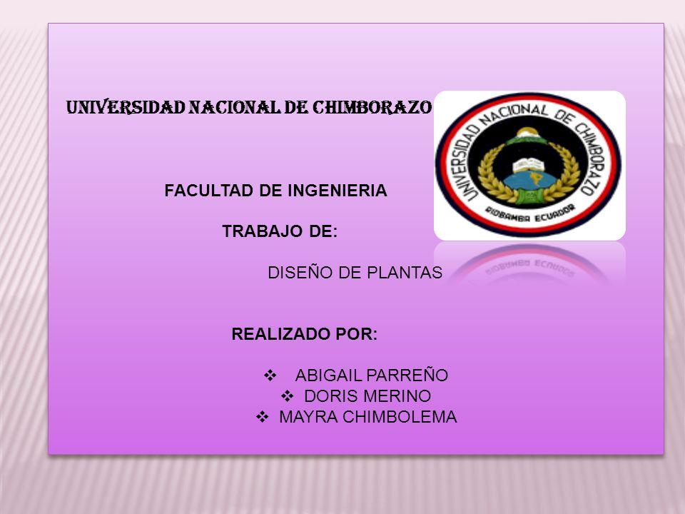 UNIVERSIDAD NACIONAL DE CHIMBORAZO FACULTAD DE INGENIERIA TRABAJO DE: DISEÑO DE PLANTAS REALIZADO POR: ABIGAIL PARREÑO DORIS MERINO MAYRA CHIMBOLEMA U