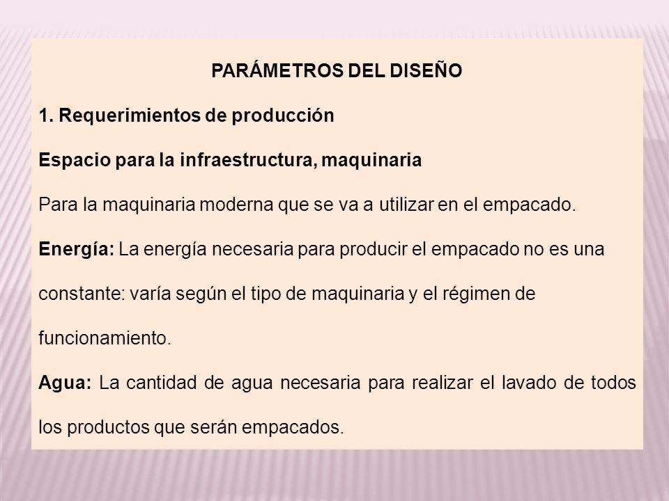 PARÁMETROS DEL DISEÑO 1. Requerimientos de producción Espacio para la infraestructura, maquinaria Para la maquinaria moderna que se va a utilizar en e