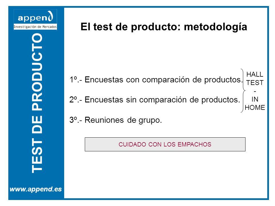 TEST DE PRODUCTO www.append.es El test de producto: metodología 1º.- Encuestas con comparación de productos. 2º.- Encuestas sin comparación de product