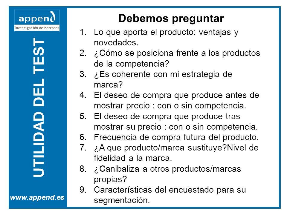 UTILIDAD DEL TEST www.append.es Debemos preguntar 1.Lo que aporta el producto: ventajas y novedades. 2.¿Cómo se posiciona frente a los productos de la