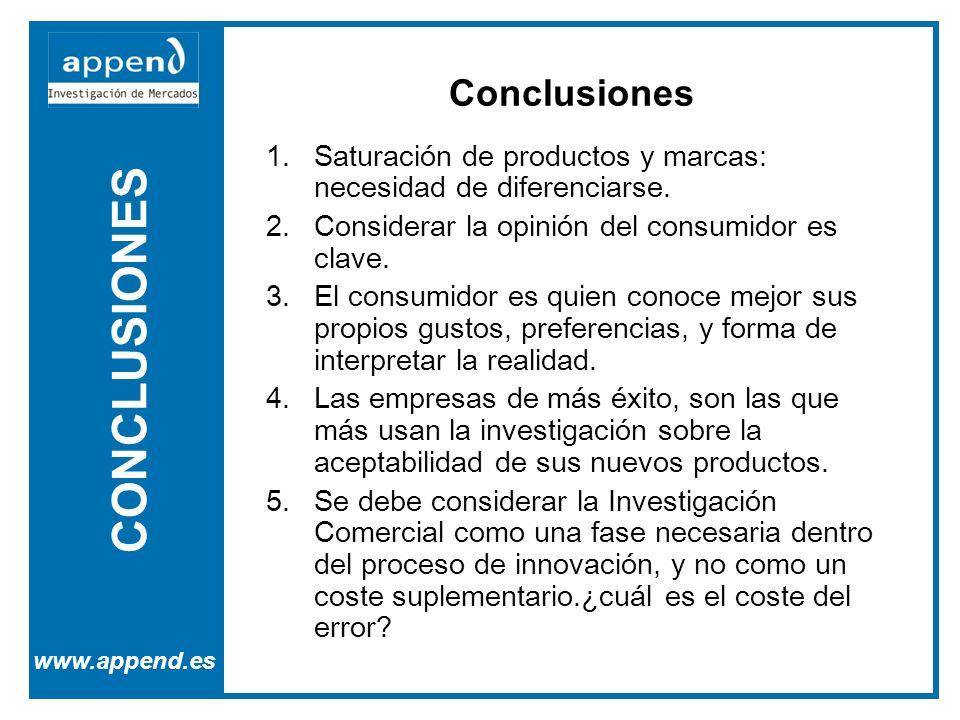 CONCLUSIONES www.append.es 1.Saturación de productos y marcas: necesidad de diferenciarse. 2.Considerar la opinión del consumidor es clave. 3.El consu
