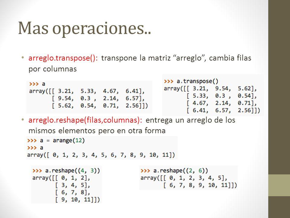 Mas operaciones.. arreglo.transpose(): transpone la matriz arreglo, cambia filas por columnas arreglo.reshape(filas,columnas): entrega un arreglo de l
