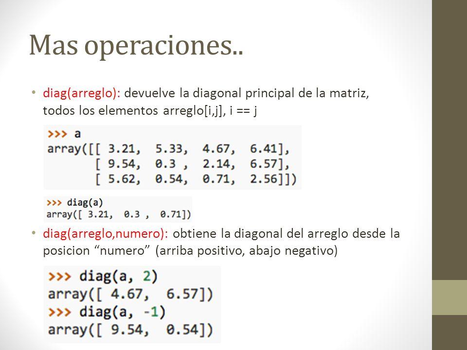 Mas operaciones.. diag(arreglo): devuelve la diagonal principal de la matriz, todos los elementos arreglo[i,j], i == j diag(arreglo,numero): obtiene l