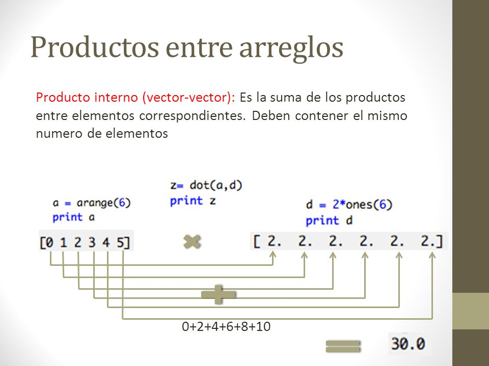 Productos entre arreglos Producto interno (vector-vector): Es la suma de los productos entre elementos correspondientes. Deben contener el mismo numer