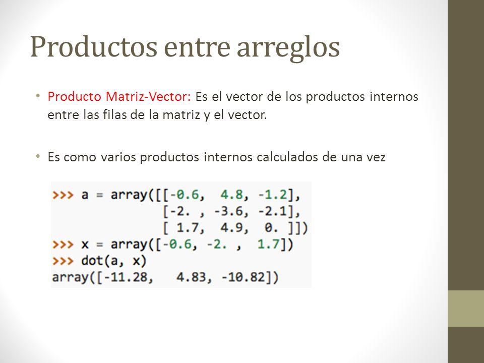 Productos entre arreglos Producto Matriz-Matriz: Es la matriz de los productos internos entre las filas de la primera matriz y las columnas de la segunda (varios matriz-vector de una vez) 3x2 2x3 Nueva Matriz: 3 x 3