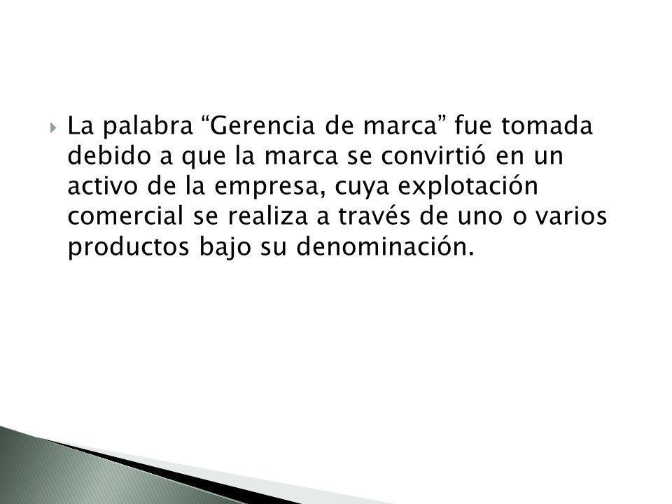 La palabra Gerencia de marca fue tomada debido a que la marca se convirtió en un activo de la empresa, cuya explotación comercial se realiza a través de uno o varios productos bajo su denominación.