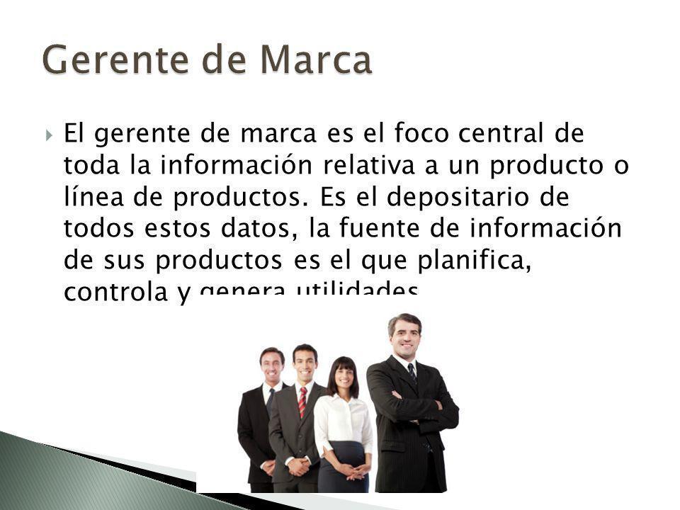 El gerente de marca es el foco central de toda la información relativa a un producto o línea de productos.