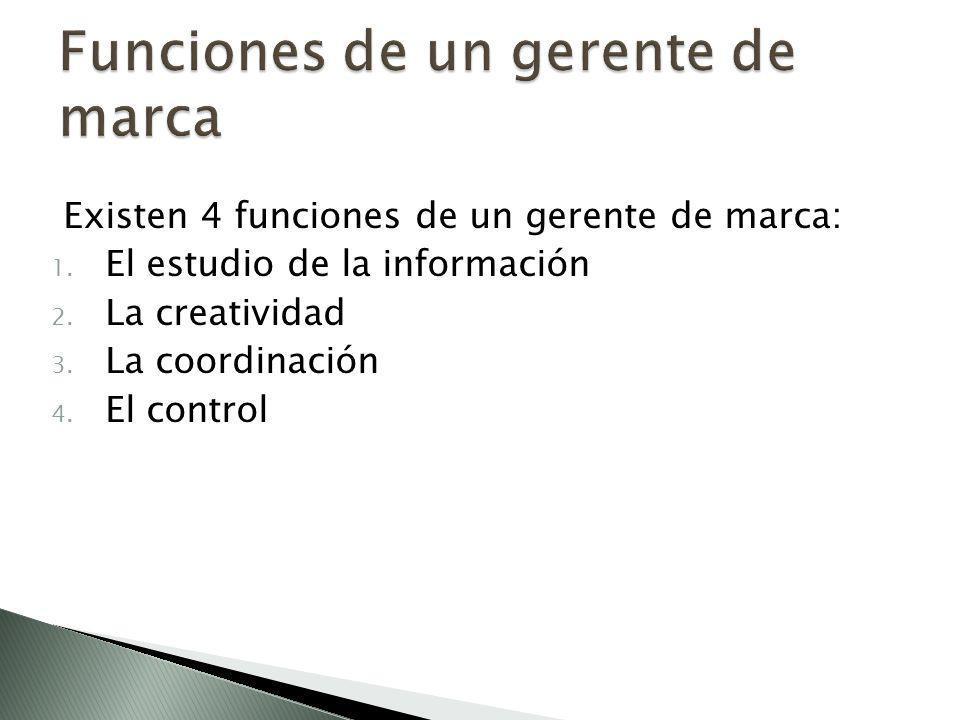 Existen 4 funciones de un gerente de marca: 1.El estudio de la información 2.