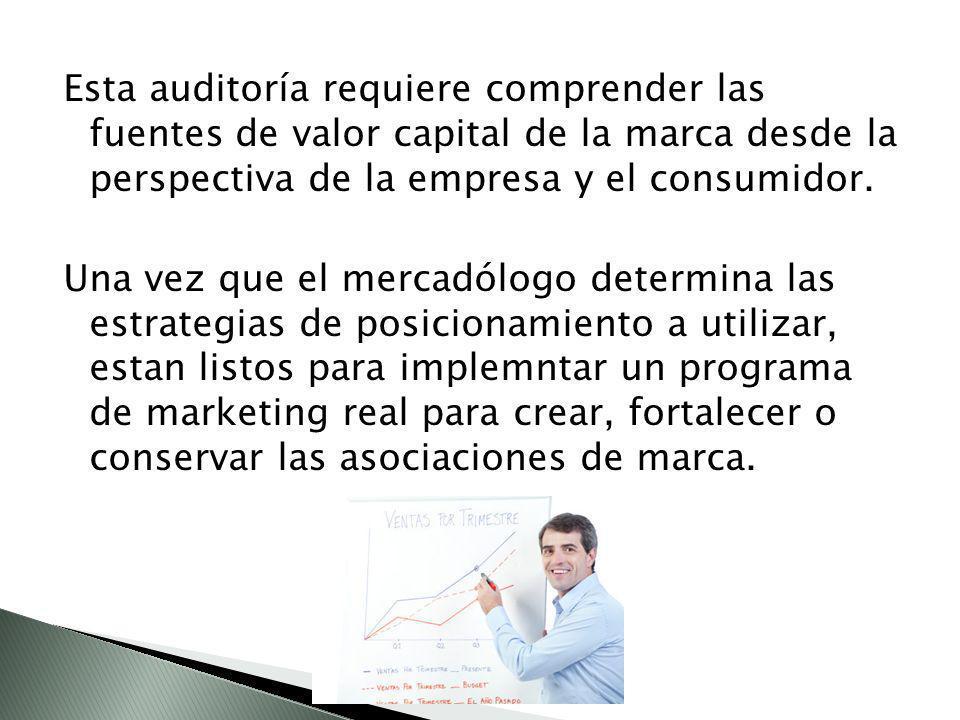 Esta auditoría requiere comprender las fuentes de valor capital de la marca desde la perspectiva de la empresa y el consumidor.