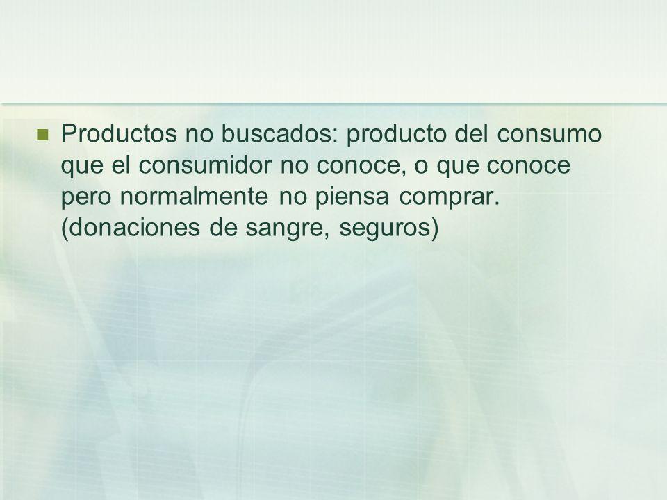 Productos no buscados: producto del consumo que el consumidor no conoce, o que conoce pero normalmente no piensa comprar. (donaciones de sangre, segur