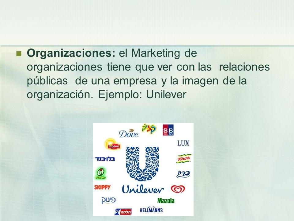 Organizaciones: el Marketing de organizaciones tiene que ver con las relaciones públicas de una empresa y la imagen de la organización. Ejemplo: Unile
