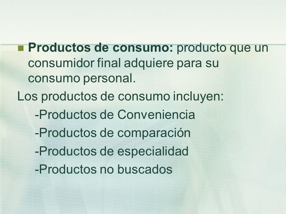 Productos de consumo: producto que un consumidor final adquiere para su consumo personal. Los productos de consumo incluyen: -Productos de Convenienci